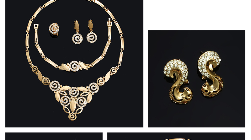 AYAYOO Indian Jewelry Sets Luxury Wedding Dubai Gold Color Jewellery Sets For Women Plant Vintage African Beads Jewelry Set (4)