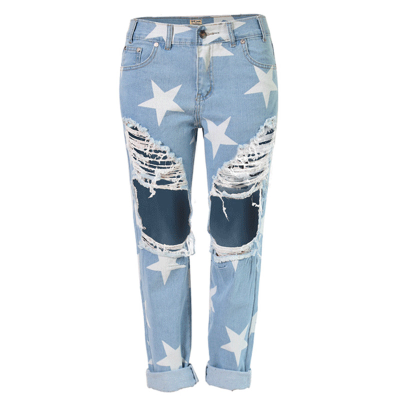 Hot Explosion Models Fashion Women Jeans Casual Ladies Hole Jeans Stars Printing Straight Denim Ripped Jeans For Women TC012Одежда и ак�е��уары<br><br><br>Aliexpress