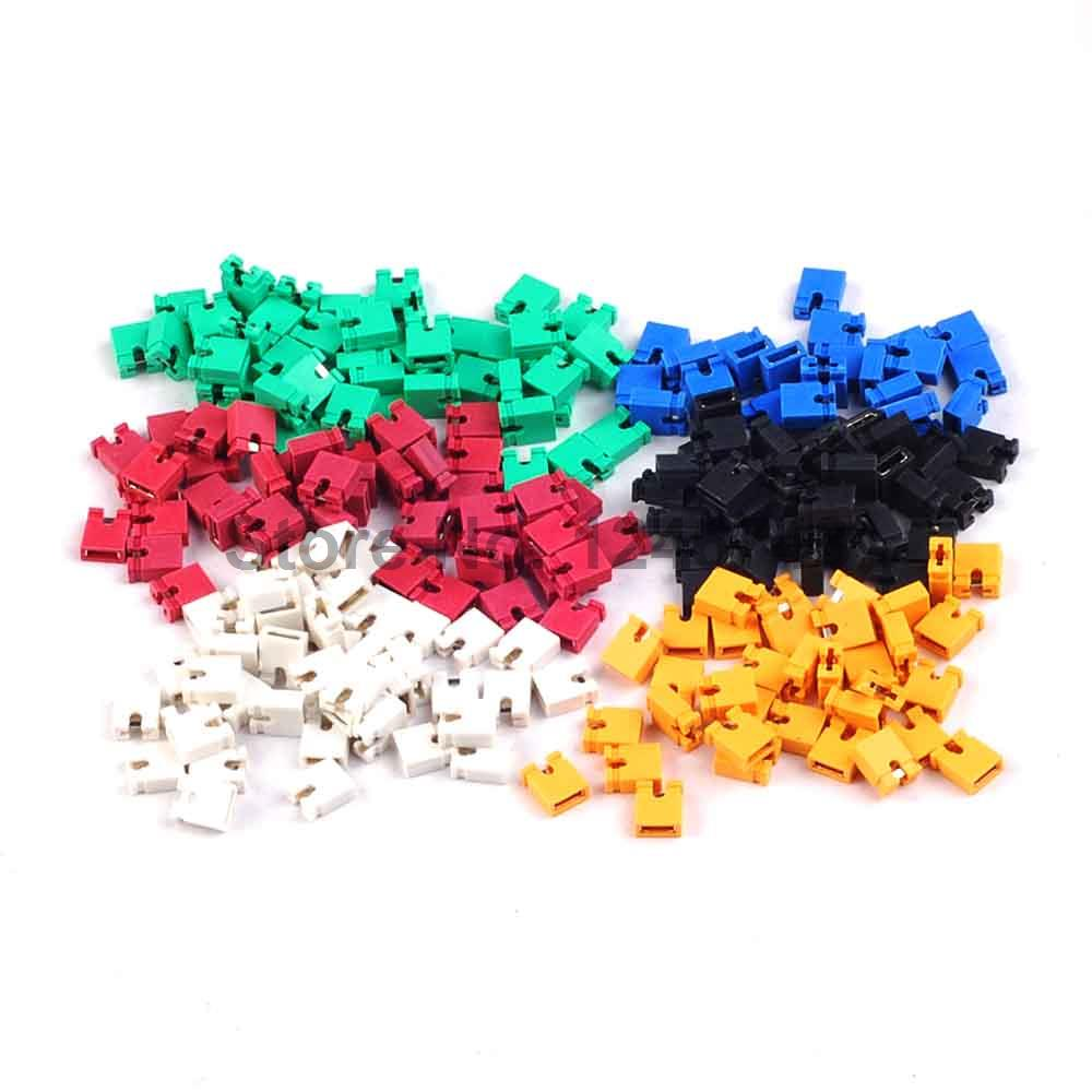 100pcs color 2.54mm pitch standard jumpers with handle green