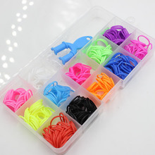 Hot sale 1 box /lot children Loom Kits Rubber Bands case Bracelet accessories DIY Toy Gifts Fun Box Crazy Sets K03266(China)