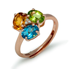 Triple Blossom 2.5ct Natural Citrine Topaz Peridot 925 Silver Adjustable Ring