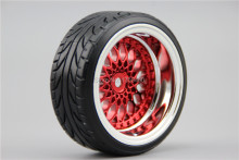 4pcs RC Hard Pattern Drift  Tires Tyre Wheel Rim Y12CR  3/6/9mm offset (Chrome+Painting Red) fits for 1:10 Drift Car