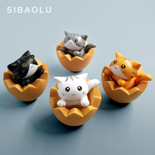 Eggshell Cat Figurine statue Animal moss terrarium Home Decor Shaped Decoration Cake mini fairy garden resin Crafts ornament toy