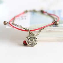 Fashion 12 Zodiac Anklets Red String with Ceramic Bead handmade Anklet for Men Women Charm Jewelry with Bell Wholesale