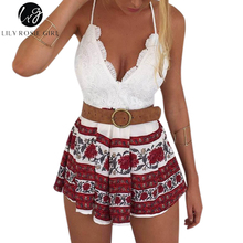 Buy Boho Style Floral Print Summer Jumpsuit 2016 Elegant White Lace V Neck Halter Rompers Playsuit Women Sexy Backless Beach Overall