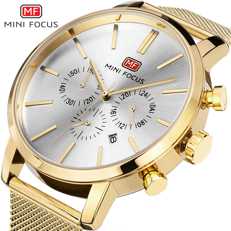 MINI FOCUS Top Luxury Watch Men Brand Mens Watches Ultra Thin Gold Steel Mesh Strap Quartz Wristwatch Fashion Casual Watches<br>