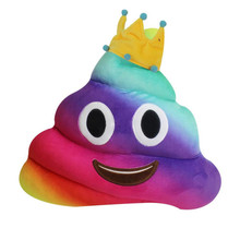 Big 30*35CM Amusing Crown Emoji Emoticon Cushion Heart Eyes Poo Shape Pillow Doll Toy Gift colorful rainbow poop cushion doll