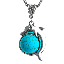 H:HYDE Bohemian Dolphin Pendant Natural Blue Stone Necklace For Women With Silver Color Chain Lucky Jewelry Nice Shipping(China)