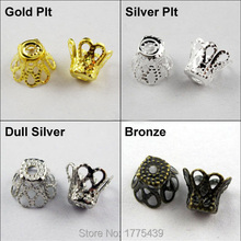 Free Shipping Jewelry Finding 5x6MM Wine Class Flower Bead Cap Gold Silver Bronze Nickel Plated (350Pcs=1Lot ! )