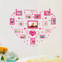 Photo Wall Sticker With Photo Frame Romantic Living Room Wedding Room Sofa Wall Decoration Sticker Pink Heart Image PVC115*94CM