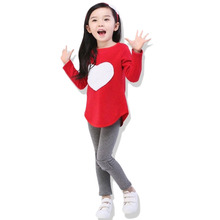 Free Shipping New Spring Autumn Girls Clothes Sets Love The Three Suits Pink Red Long Sleeve+Leggings+Hair Band Clothing Sets(China)