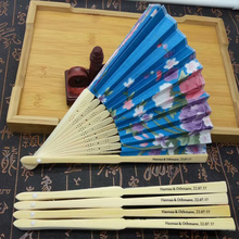 100Pcs Personalized Ladies Hand Fan Bamboo,Chinese Folding Fan Wedding Favors With Organza Bag,Custom Bride & Groom Name & Date