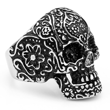 (12 pcs/lot) Mimeng Carve Patterns Stainless Steel Rings Cheap Skull Ring Western Style Rings Men's Ring(China)