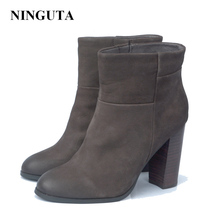 NINGUTA genuine leather high heels ankle boots for women spring autumn women boots shoes woman