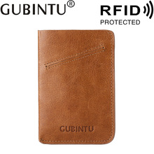Buy RFID Wallet Men's Thin Purse Business Card Holder Male Slim Credit Card Holder Genuine Leather Wallet Strap Bag Pouch Brown for $7.19 in AliExpress store