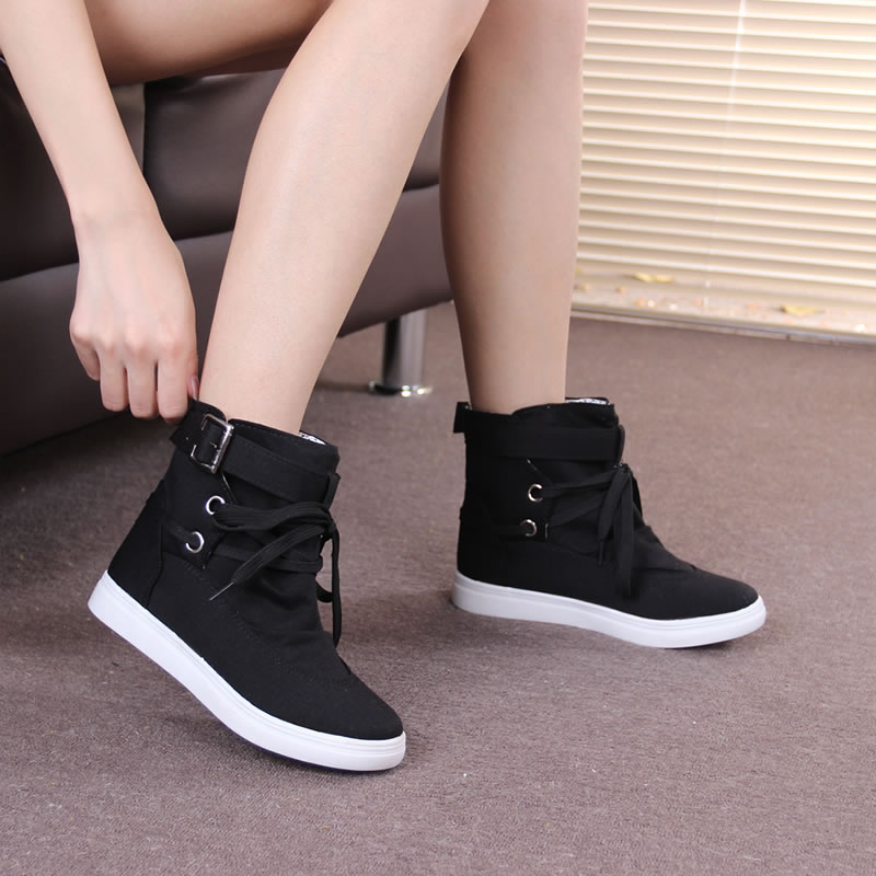Free shipping 2014 new summer autumn lacing high canvas shoes female elevator platform womens casual flat shoes<br><br>Aliexpress