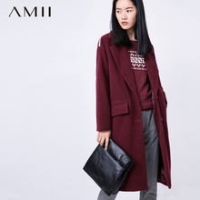 Amii Casual Women Woolen Coat 2017 Winter Solid Single Breasted Turn-down Collar Pocket Female Wool Blends(China)