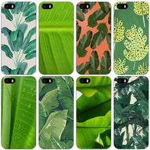 Banana Leaf Black Plastic Case Cover Shell for iPhone Apple 4 4s 5 5s SE 5c 6 6s 7 Plus