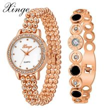 Xinge Brand Luxury Women Bracelet Watch Gold Crystal Stone Jewelry Watch Set Wristwatch Waterproof Fashion Famous Quartz Watches