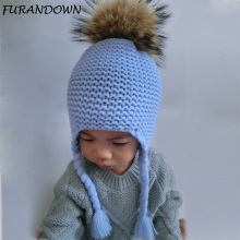 FURANDOWN 2017 Fashion Kids Winter Raccoon Fur Hats For Children Girls Knitted Wool Earflap Beanies Cap Crochet Baby Hat(China)