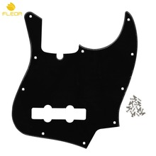 FLEOR Black 1Ply 10 Holes Standard JB Bass Guitar Pickguard with Truss Rod Notch & Screws for 4 String Bass Parts