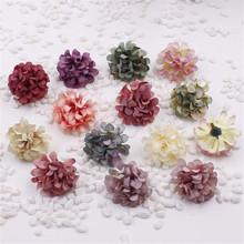 4CM Head,5PCS Artificial Silk Small Carnations,Fake Chrysanthemum,Hydrangea Heads,DIY Decoration For Wrist Corsage,Hat,Bouquet