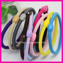 100PCS  4mm Assorted Colors Elastic Ponytail holders Hair bands with plastic beads connection,hair ties,wholesales,adult