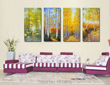 Abstract Four Seasons Mountains Tree Oil Painting Hand Painted 4 Panel Arts Set Home Decor Modern Wall Picture For Living Room