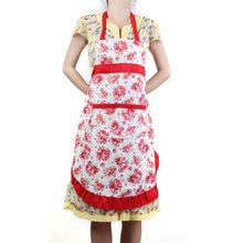 NEW Women Apron with Ruffle Pocket Floral Roses for Cooking Kitchen