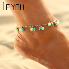 IF YOU Blue Stone Foot Bracelet Jewelry Anklet For Women Girl Ankle Leg Jewelry Chain Charm Bracelet Summer Fashion Jewelry 2017(China)