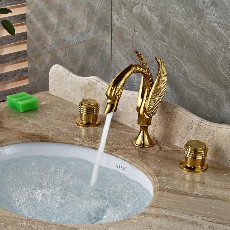 Dual Handle Golden Widespread Basin Sink Mixer Faucet Deck Mount Brass Basin Faucet Swan Shape<br><br>Aliexpress