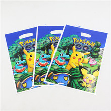 plastic candy bags with handle 10pc pikachu birthday party decorations for children pokemon go theme gift packaging bag