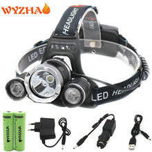 RJ3000 Head lamp 13000 lumens T6 LED headlamp floodlight Head light headlight torch +18650 battery+Car charger+USB+Charger