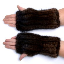 Winter mink fur gloves for women high Real Fur Gloves 2017 New Women 20CM Fashion Genuine Glove Knitted Mink Fur Fingerless(China)