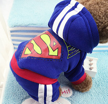 hotsale 4 legs Dog clothes,pets coats,puppy dog hoodie Superman /Bat winter clothes sweater costumes size XS -XXL 9 colors(China)