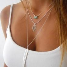 Personality Simple Mode Green stone Necklaces Long Leaf Pendant Necklace 3 Layer Multilayer Chain Necklace Necklaces & Pendants