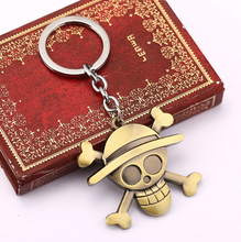 1Pcs/set New Anime One Piece Luffy Straw Hat Copper Key Ring Tone Zinc Alloy Keychains Kids Toys Pendants