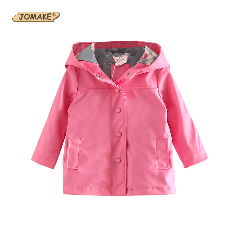 Autumn New Girls Jackets & Coats Solid Color Long Trench Coat Children Hooded Windbreaker Fashion Girls Clothing Kids Outerwear