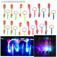 5pcs Amazing Large LED Light Slingshot Elastic Arrow Rocket Helicopter Flying Toy Party Fun Gift Outdoor Flashing Toy Childgift