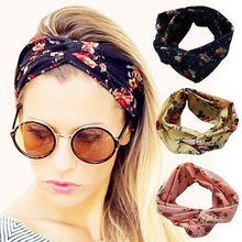 Buy Fashion Women Flower headband Retro Elastic Turban Twisted Knotted Ethnic Headband Floral Wide Stretch Girls Hair Accessories for $1.36 in AliExpress store