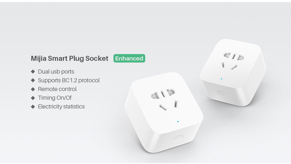 Xiaomi Mijia Smart wifi Socket Plug Enhanced Dual USB Fast Charger Timer Setting Electricity statistics Wireless APP Control (1)