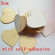 50pcs/set(with self-adhesive) 5cm Personalised Wedding guest book alternative wood Heart Guest book Custom Drop Top Guestbook(China)