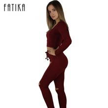 FATIKA New fashion Ladies two pieces set women club wear clothing sexy crop tops and pencil pants long sleeve overalls with hat