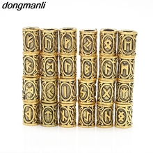 P4 24pcs Gold Norse Viking Runes Metal Charms Beads Findings Bracelets for Pendant Necklace for Beard or Hair Vikings Rune Kits