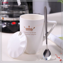 1set Creative Personality Ceramic Cups & Cover & Spoon Breakfast Milk Cup Leisure Afternoon Tea Coffee Mug Supplies 5ZDZ247(China)