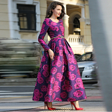 HIGH QUALITY Newest 2017 Spring Designer Maxi Dress Women's Long Sleeve Gorgeous Rose Jacquard Ball Gown Long Dress(China)