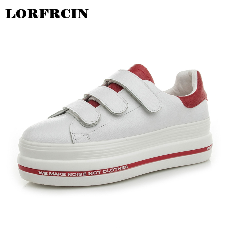 LORFRCIN Spring Creeper Genuine Leather Women Flat Platform Shoes Hook&amp;Loop Shoes For Women Thick Bottom Shoes Woman Size 33-39<br>
