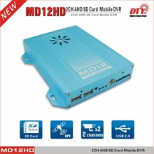 DTY MD12HD dual lens mini sd card car cctv dvr system 720p ahd dvr h 264 Vehicle dvr support 2 cameras