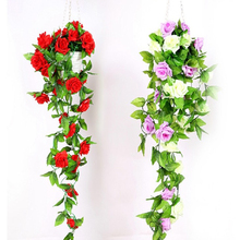 2.4M Artificial Fake Silk Rose Flower Ivy Vine Hanging Garland Wedding Decor Party Home Garden Decoration Drop Shipping(China)