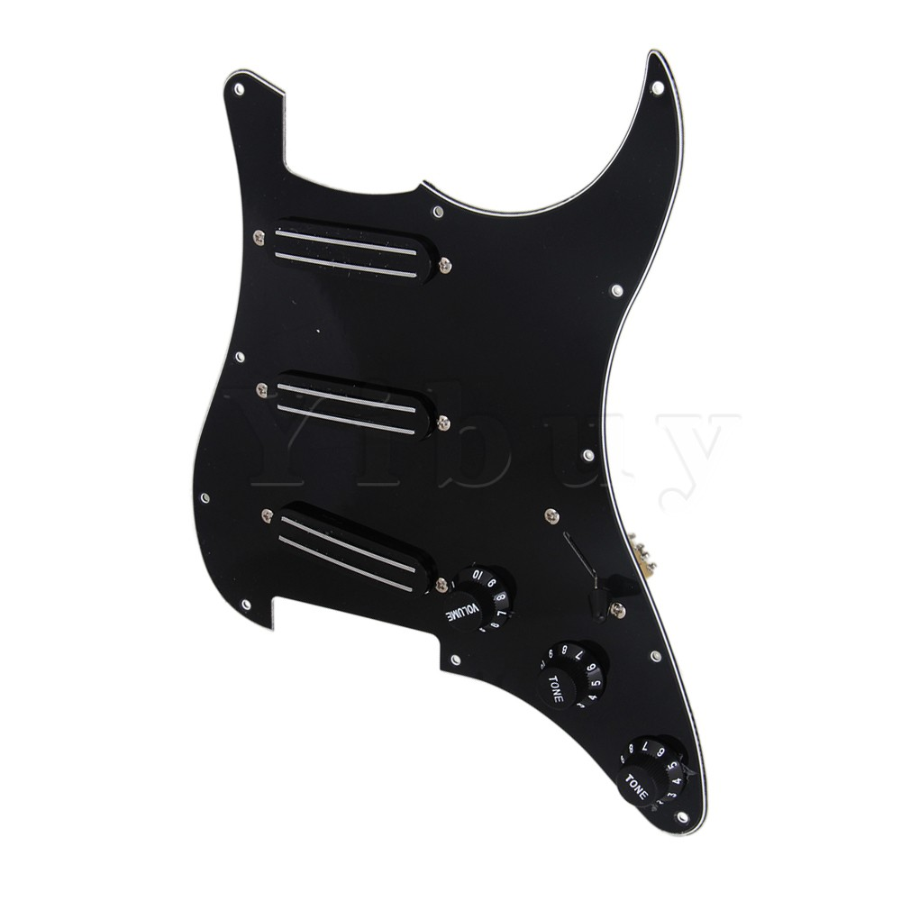 Yibuy 3 Dual Rail Pickup with Black Volume Speed Control Knob Pickguard Assembly<br>